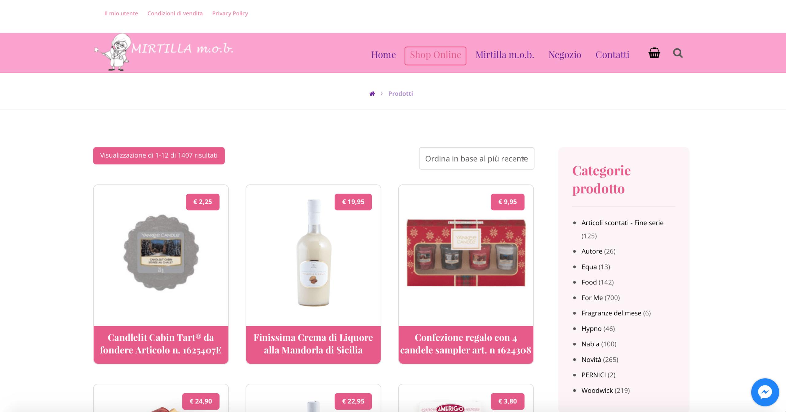 Leonteweb Sito E-commerce Mirtillamob E-commerce Sito internet